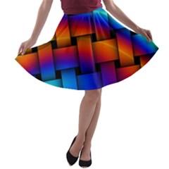 Rainbow Weaving Pattern A Line Skater Skirt