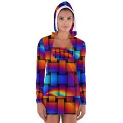 Rainbow Weaving Pattern Women s Long Sleeve Hooded T-shirt