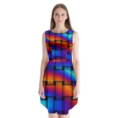 Rainbow Weaving Pattern Sleeveless Chiffon Dress