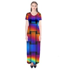 Rainbow Weaving Pattern Short Sleeve Maxi Dress