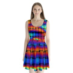 Rainbow Weaving Pattern Split Back Mini Dress