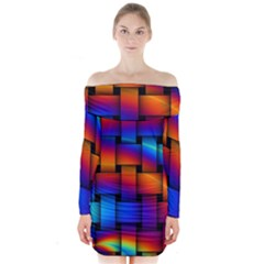 Rainbow Weaving Pattern Long Sleeve Off Shoulder Dress