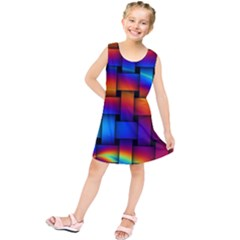 Rainbow Weaving Pattern Kids  Tunic Dress