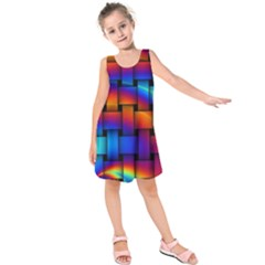 Rainbow Weaving Pattern Kids  Sleeveless Dress