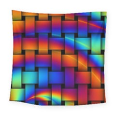 Rainbow Weaving Pattern Square Tapestry (large)
