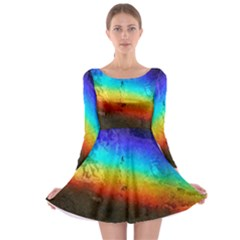 Rainbow Color Prism Colors Long Sleeve Skater Dress