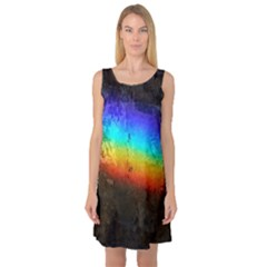 Rainbow Color Prism Colors Sleeveless Satin Nightdress