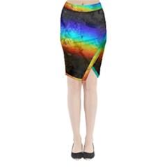 Rainbow Color Prism Colors Midi Wrap Pencil Skirt