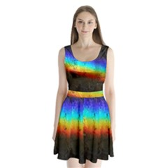 Rainbow Color Prism Colors Split Back Mini Dress