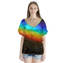 Rainbow Color Prism Colors Flutter Sleeve Top