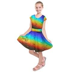 Rainbow Color Prism Colors Kids  Short Sleeve Dress