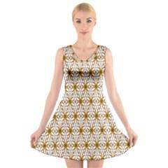 Seamless Wallpaper Background V-Neck Sleeveless Skater Dress