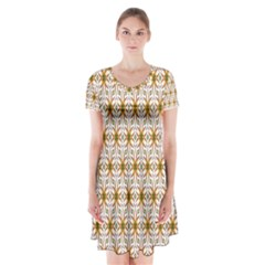 Seamless Wallpaper Background Short Sleeve V Neck Flare Dress