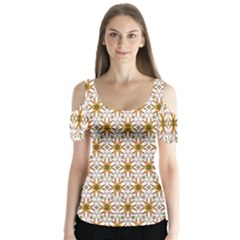 Seamless Wallpaper Background Butterfly Sleeve Cutout Tee