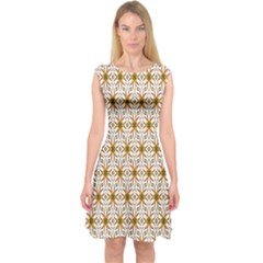 Seamless Wallpaper Background Capsleeve Midi Dress