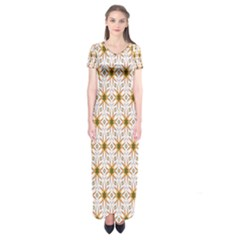 Seamless Wallpaper Background Short Sleeve Maxi Dress