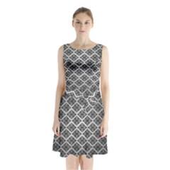 Silver The Background Sleeveless Chiffon Waist Tie Dress