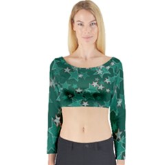 Star Seamless Tile Background Abstract Long Sleeve Crop Top