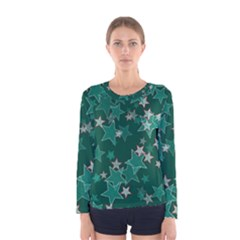 Star Seamless Tile Background Abstract Women s Long Sleeve Tee