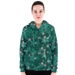 Star Seamless Tile Background Abstract Women s Zipper Hoodie