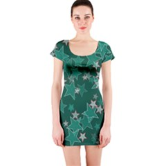 Star Seamless Tile Background Abstract Short Sleeve Bodycon Dress