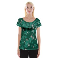 Star Seamless Tile Background Abstract Women s Cap Sleeve Top