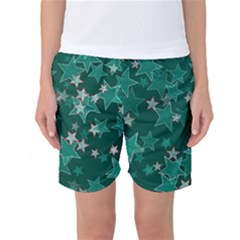 Star Seamless Tile Background Abstract Women s Basketball Shorts