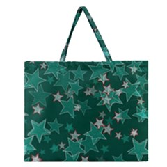 Star Seamless Tile Background Abstract Zipper Large Tote Bag