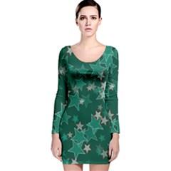 Star Seamless Tile Background Abstract Long Sleeve Velvet Bodycon Dress