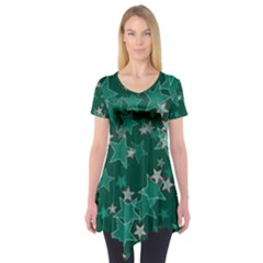 Star Seamless Tile Background Abstract Short Sleeve Tunic