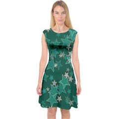 Star Seamless Tile Background Abstract Capsleeve Midi Dress