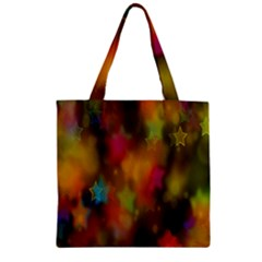 Star Background Texture Pattern Zipper Grocery Tote Bag