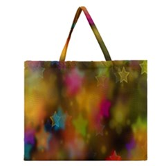Star Background Texture Pattern Zipper Large Tote Bag