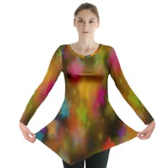Star Background Texture Pattern Long Sleeve Tunic