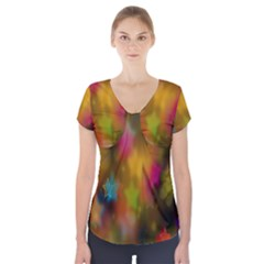 Star Background Texture Pattern Short Sleeve Front Detail Top