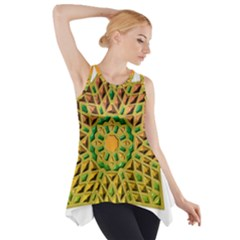 Star Pattern Tile Background Image Side Drop Tank Tunic
