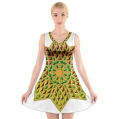 Star Pattern Tile Background Image V Neck Sleeveless Skater Dress