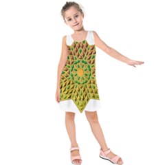 Star Pattern Tile Background Image Kids  Sleeveless Dress