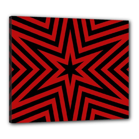 Star Red Kaleidoscope Pattern Canvas 24  x 20