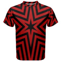 Star Red Kaleidoscope Pattern Men s Cotton Tee