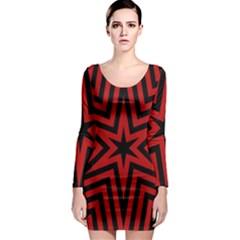 Star Red Kaleidoscope Pattern Long Sleeve Bodycon Dress