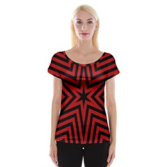 Star Red Kaleidoscope Pattern Women s Cap Sleeve Top