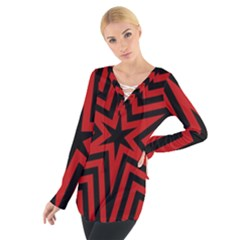 Star Red Kaleidoscope Pattern Women s Tie Up Tee