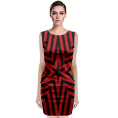 Star Red Kaleidoscope Pattern Sleeveless Velvet Midi Dress
