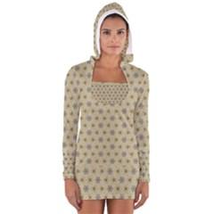 Star Basket Pattern Basket Pattern Women s Long Sleeve Hooded T-shirt