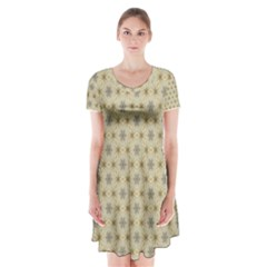Star Basket Pattern Basket Pattern Short Sleeve V Neck Flare Dress