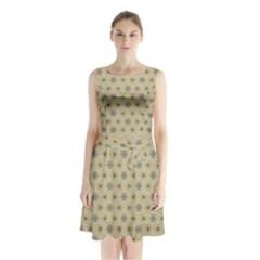 Star Basket Pattern Basket Pattern Sleeveless Chiffon Waist Tie Dress