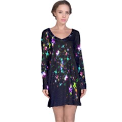 Star Structure Many Repetition Long Sleeve Nightdress