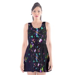 Star Structure Many Repetition Scoop Neck Skater Dress