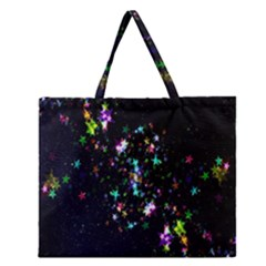 Star Structure Many Repetition Zipper Large Tote Bag